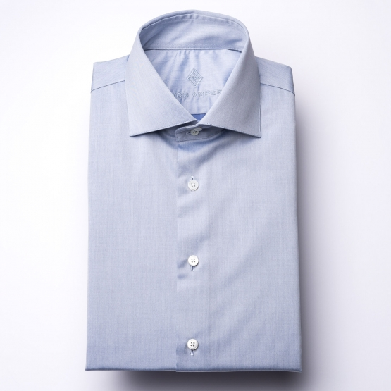 Hemd - Twill - blau - einfarbig