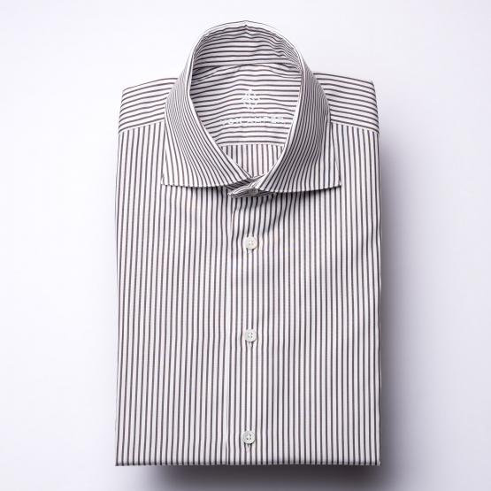 Shirt - Poplin - brown/white - striped
