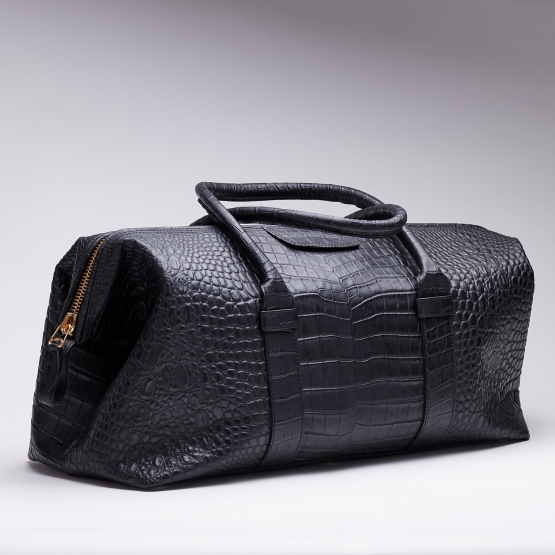 Reisetasche - Kroko - Schwarz