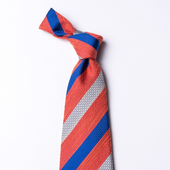 Striped tie in white - red - blue  made of silk, cotton and linen