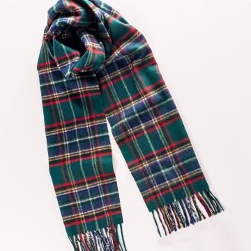 Tartan scarf  made from wool and angora in green/blue