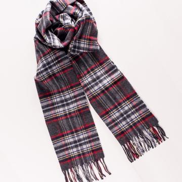 Schal mit Tartanmuster aus Wolle und Angora in Grau