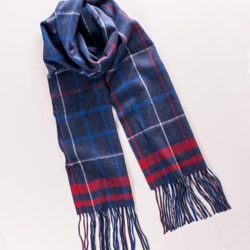 Schal mit Karomuster aus Wolle und Angora in Blau