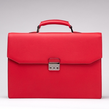 Briefcase - Leather - Red