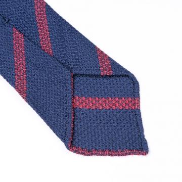 Dunkelblaue Grenadine Krawatte  mit roten Streifen