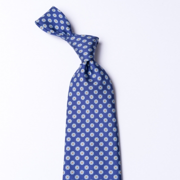 Blue tie made from pure silk  printed with an floral pattern