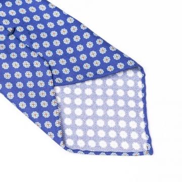 Blaue Krawatte aus reiner Seide  mit Blumenmuster bedruckt