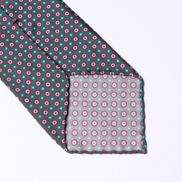 Green tie from pure silk  with red floral print