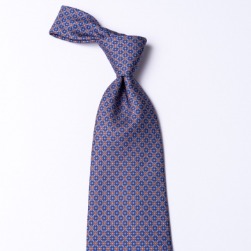 Blue tie from pure silk  with an orange floral pattern