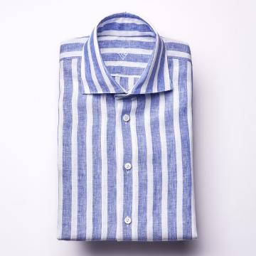 Hemd - Leinen - weiß/blau - blockstreifen