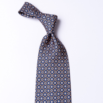 Blue tie from pure silk  printed with orange details