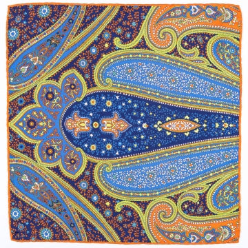 Pocket square in blue, green and orange  made from pure silk
