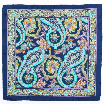 Pocket square in blue with a floral pattern  made from pure silk