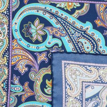 Einstecktuch in Blau mit Blumenmuster  aus reiner Seide