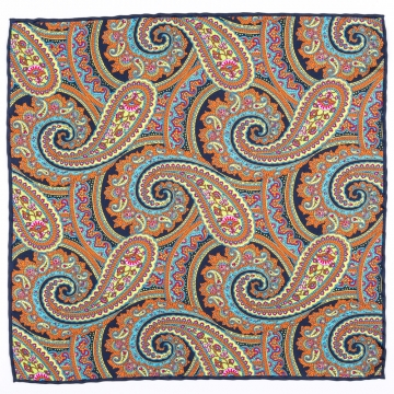 Pocket square with a paisley pattern  made from pure silk