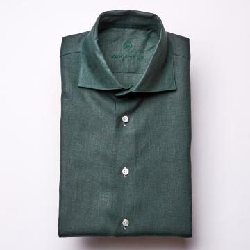Hemd - Leinen - dunkelgrün - einfarbig