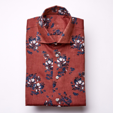 Shirt - Linen - dark red - flower pattern