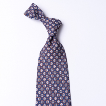 Blue tie from pure silk  with a blue floral pattern print