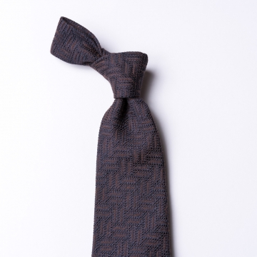 Brown tie  with a Zig Zag weave