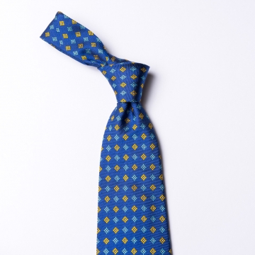 Blue woven silk tie  with floral pattern