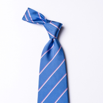 Blue silk tie  with pink stripes
