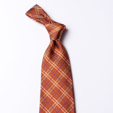 Checked tie  made of pure silk in orange