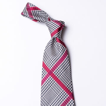 Glen check tie from pure silk