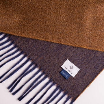 Two-tone cashmere scarf  in brown/blue